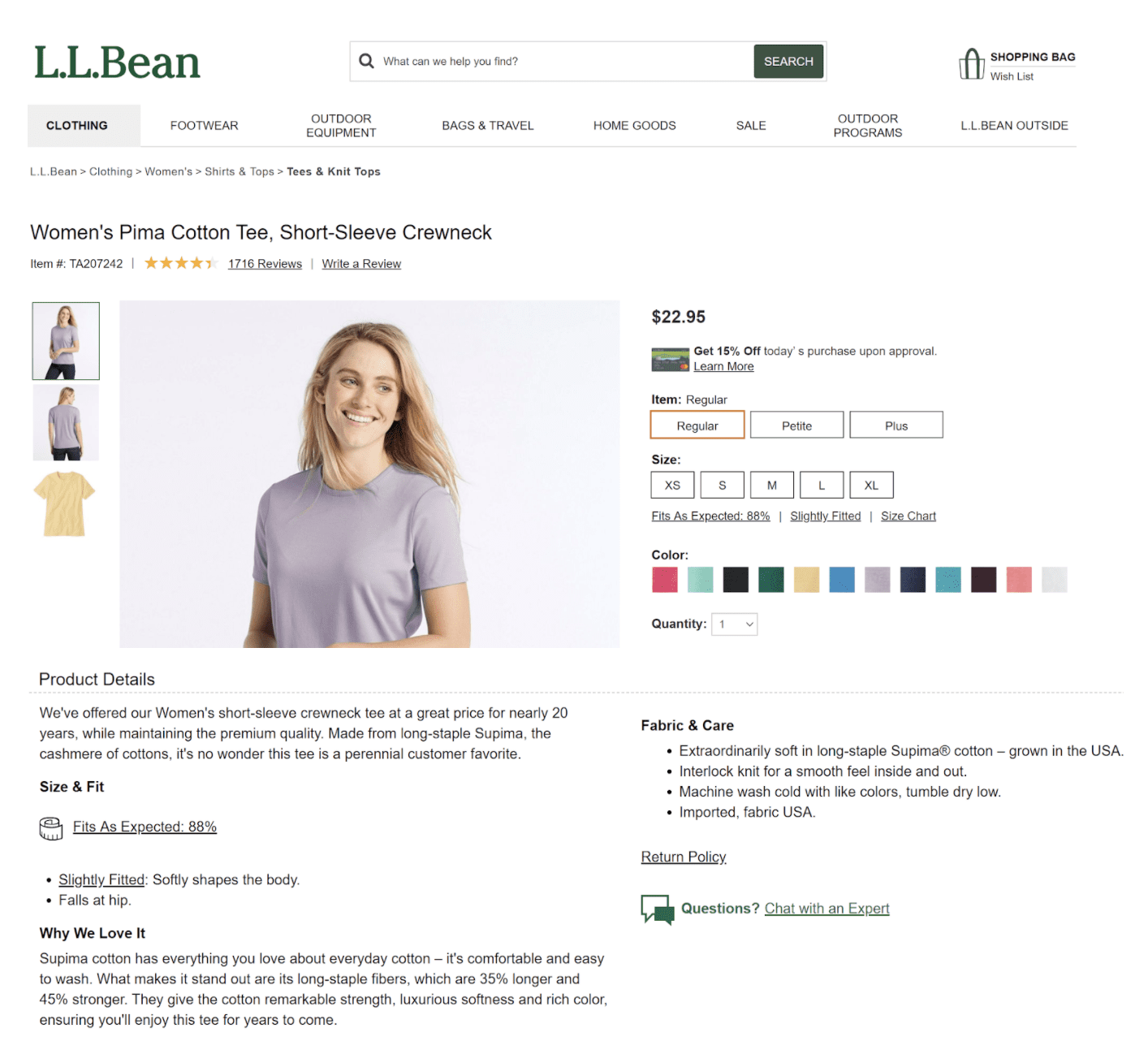 Example of a thorough product description page from L.L. Bean.
